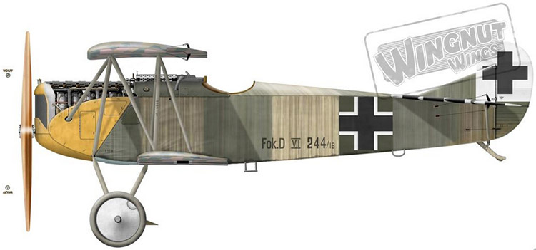 Name:  Fokkefr DVII of Lt. Aloys Heldmann (Jasta 10) 15 kills later flown by Red Baron's brother.jpg
